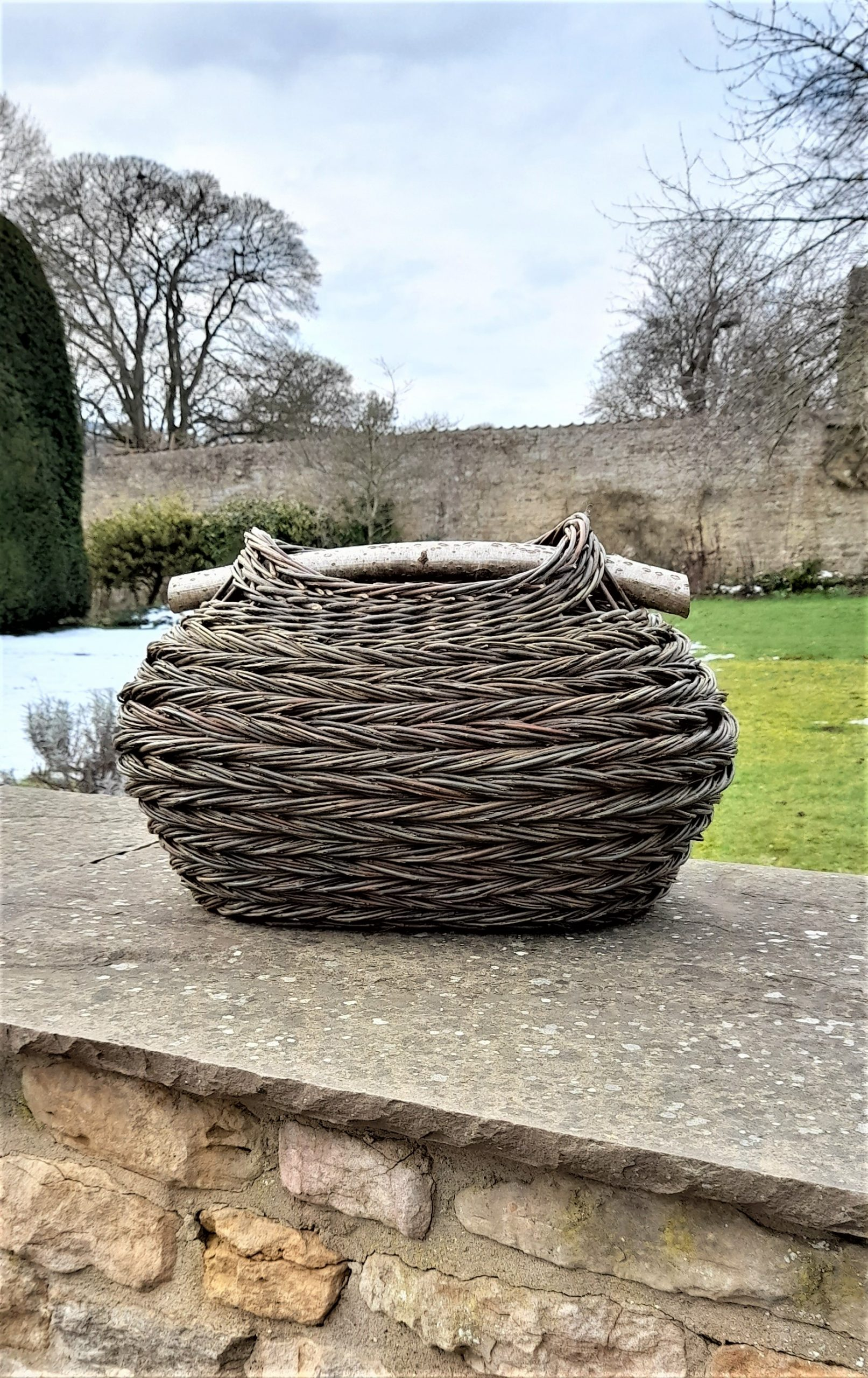 oval herringbone weave basket